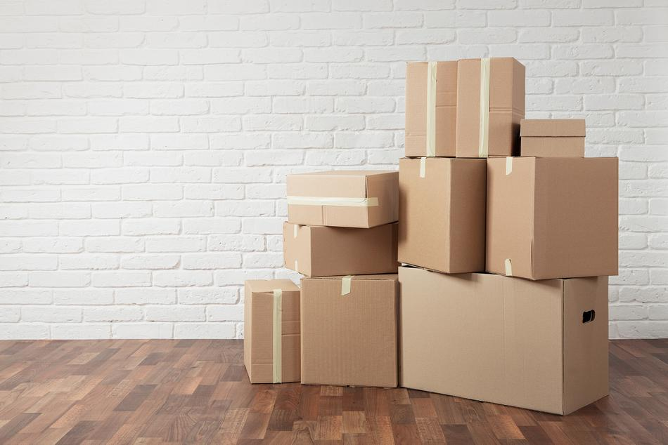 A photo of the many sizes and choices of boxes used for moving and shipping.