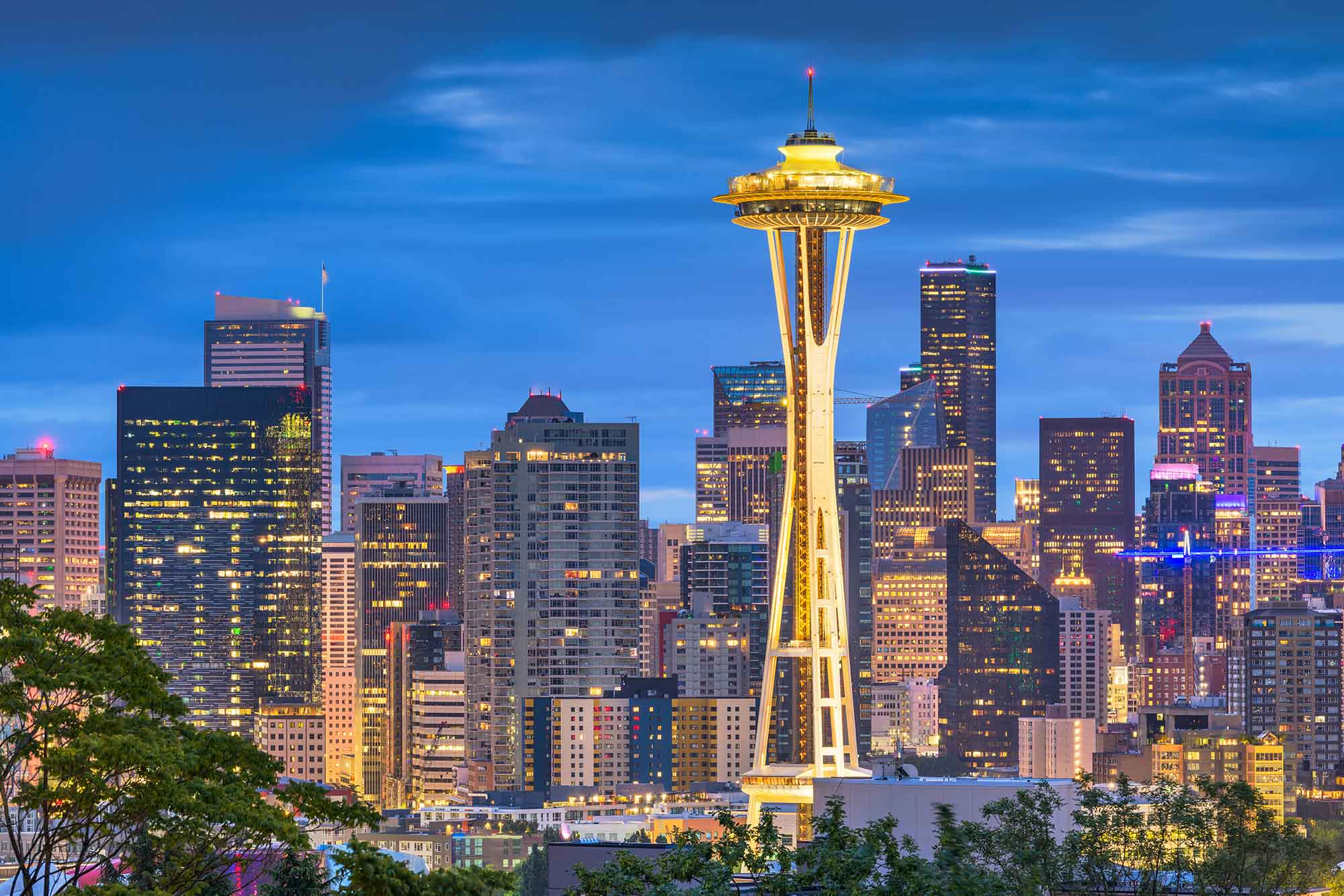 A view of the Seattle sky line and Space Needle.