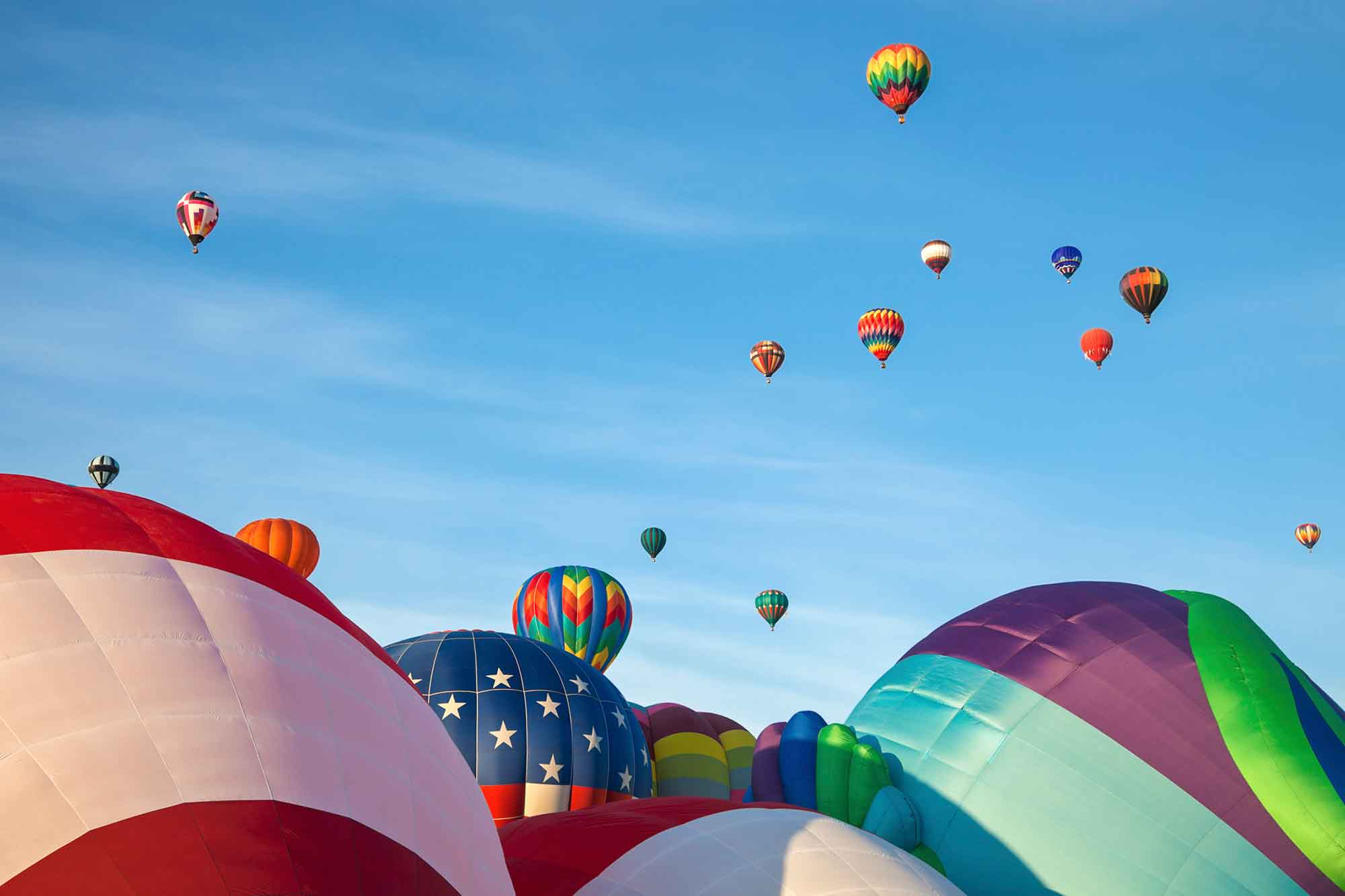 A picture of the hot air balloon fiesta In Albuquerque.