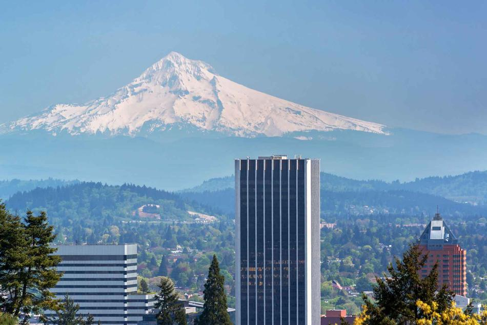 A view of Mt. Hood over the city of Portland.