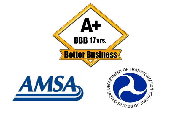 BBB, AMSA and the Department of Transportation Logo.