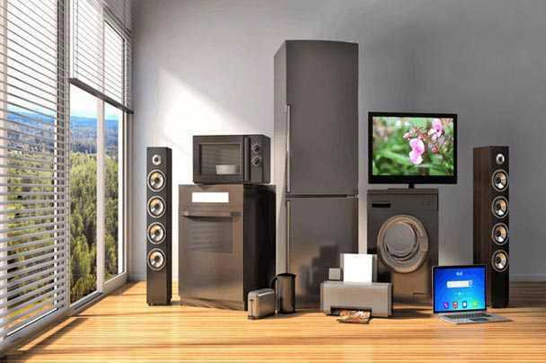 A room with houshold electronics that need shipped.